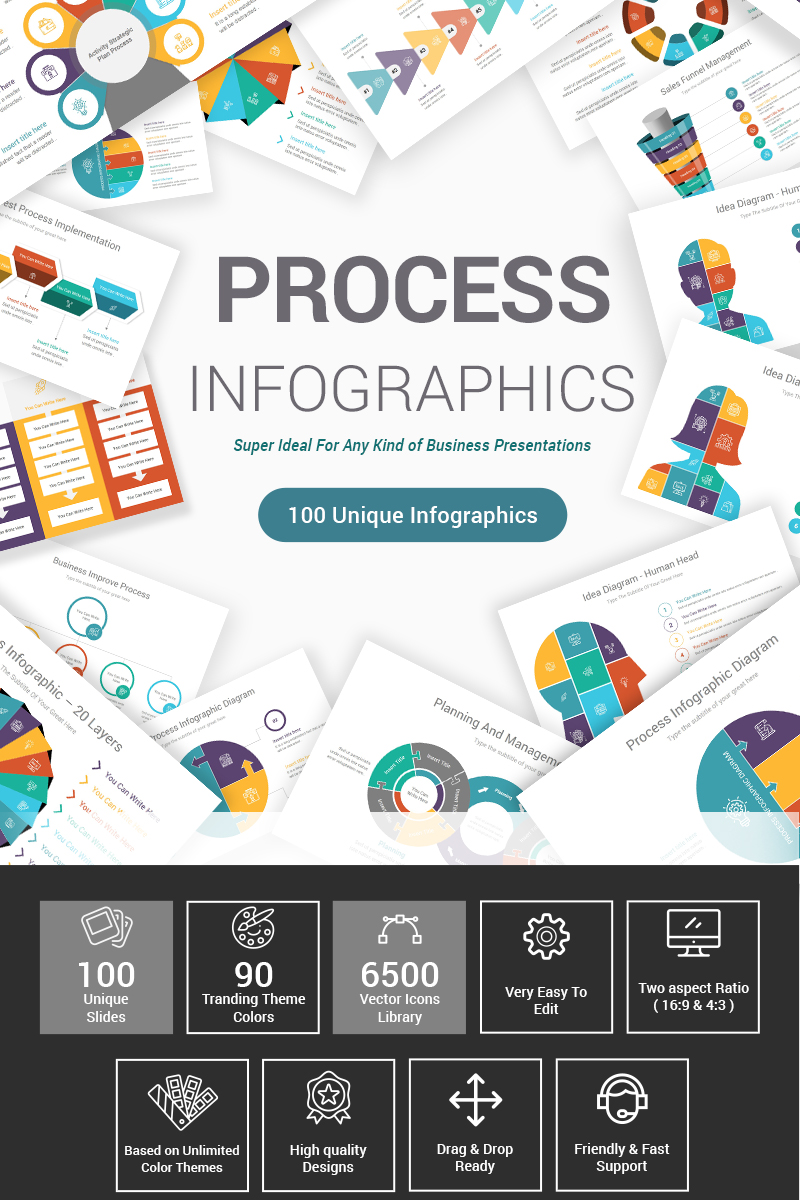 """""""Process Infographics Pack"""" Premium PowerPoint Template №87600"""