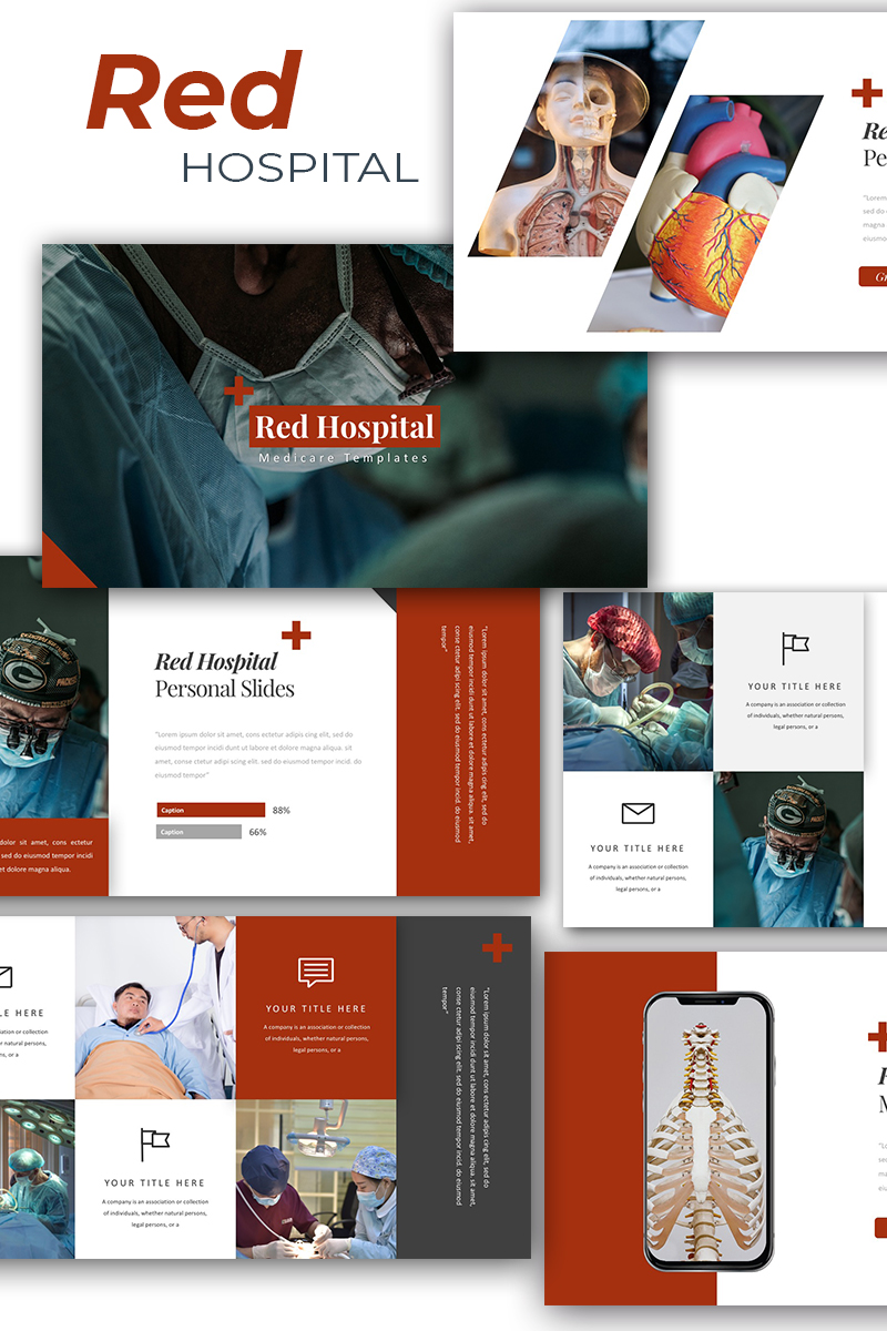 """""""Red Hospital Medical"""" Responsive PowerPoint Template №87606"""