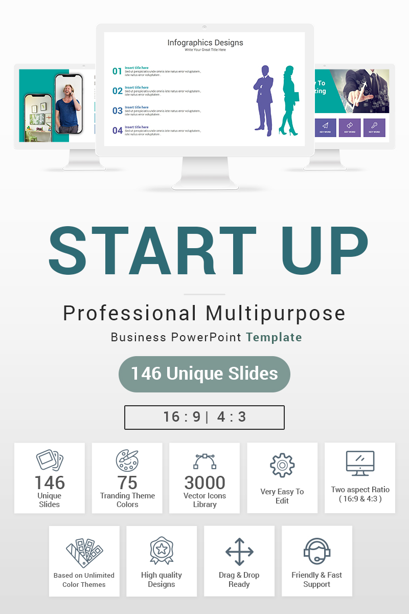 """Start up"" Premium PowerPoint Template №87602"