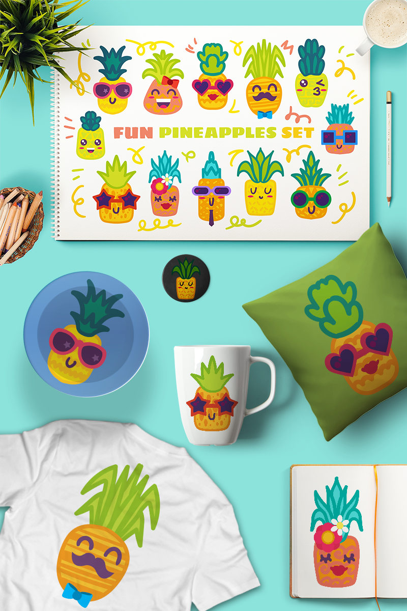 "Tema Illustrazione #87648 ""Fun Pineapple Charscters Set"""