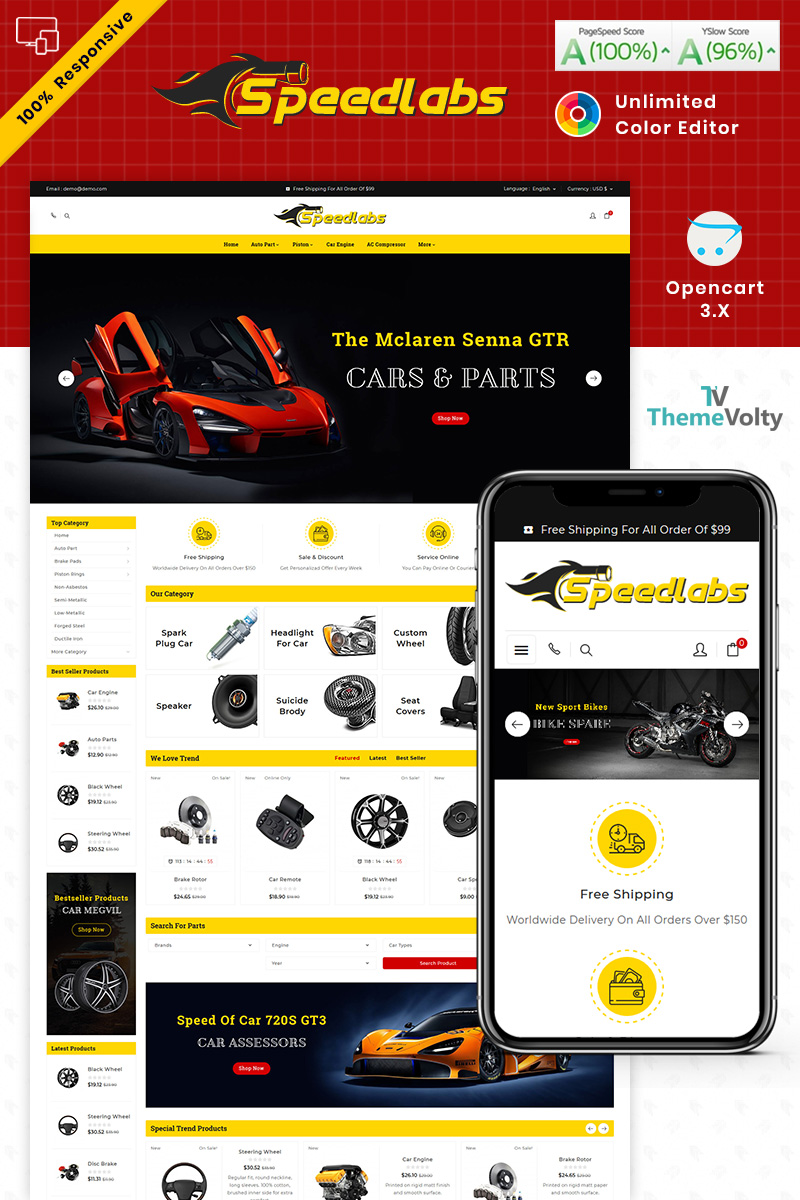"Template OpenCart Responsive #87661 ""Speed Labs AutoPart Store"""