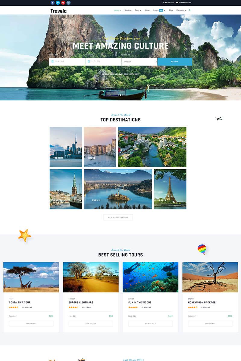 """Travela - Travel and Tourism"" 响应式Joomla模板 #87660"