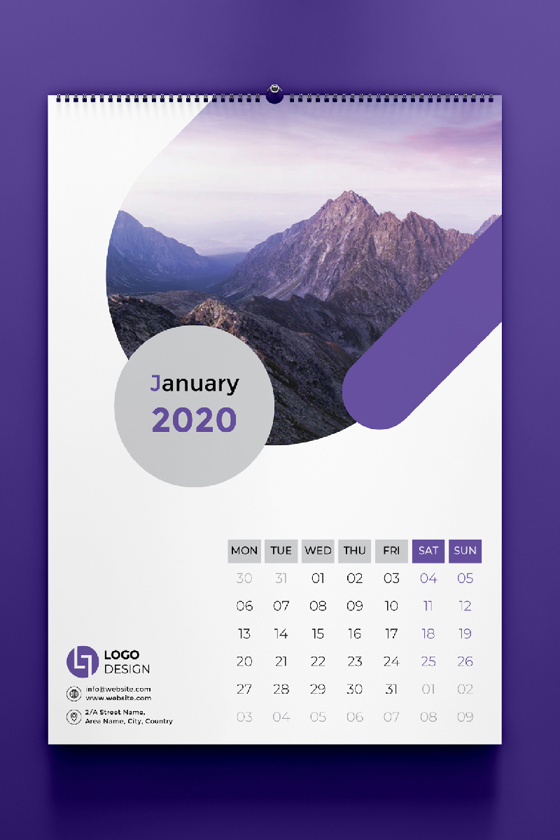 Wall Calendar 2020 Corporate Identity Template