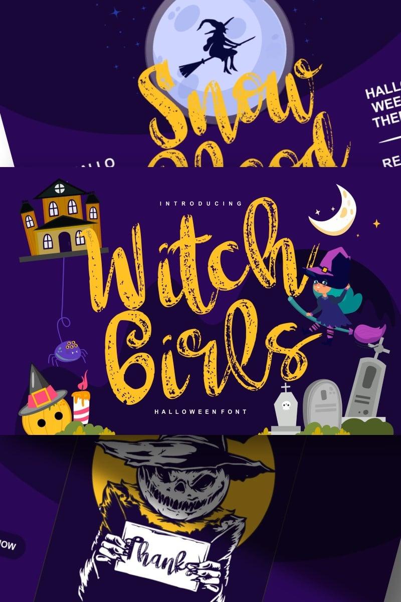 """Witch girls | Script Halloween"" Lettertype №87653"