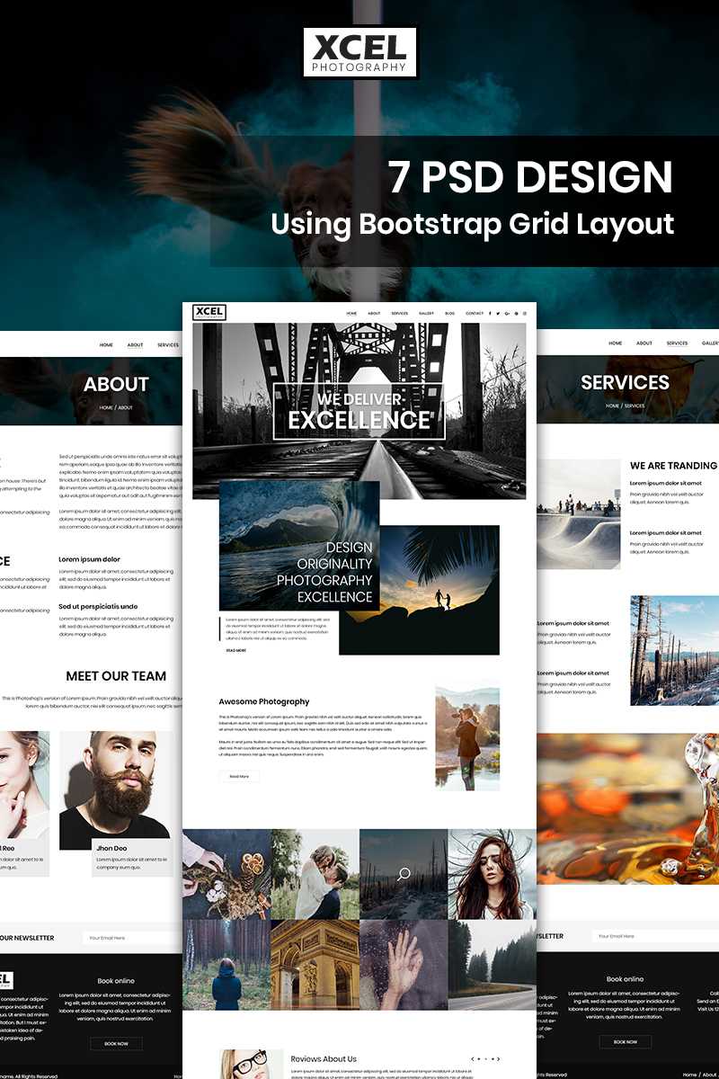 """Xcel Photography - Photography"" Bootstrap PSD Template №87674"