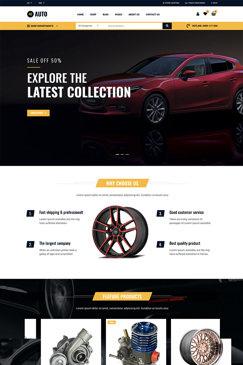 Auto Repair - Car Mechanic Services WooCommerce-tema #87742