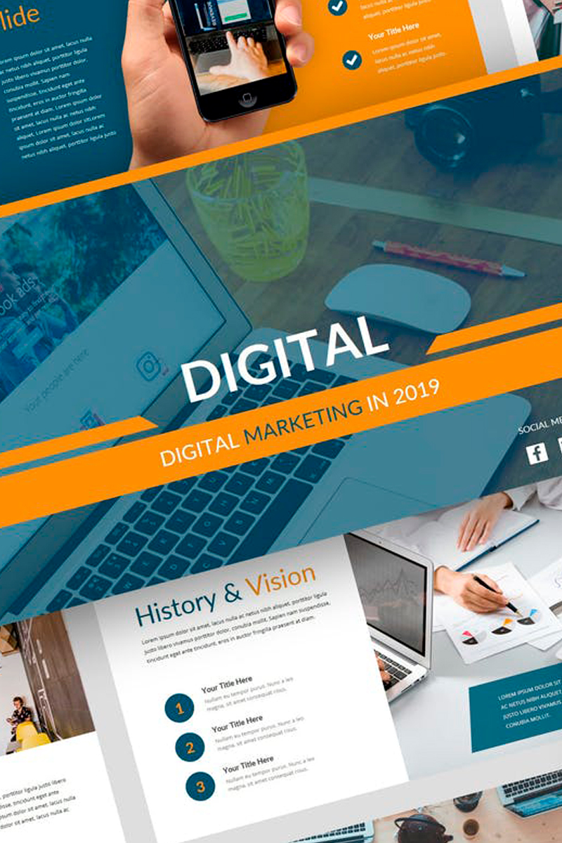 "Keynote Vorlage namens ""Digital - Digital Marketing Presentation"" #87728"