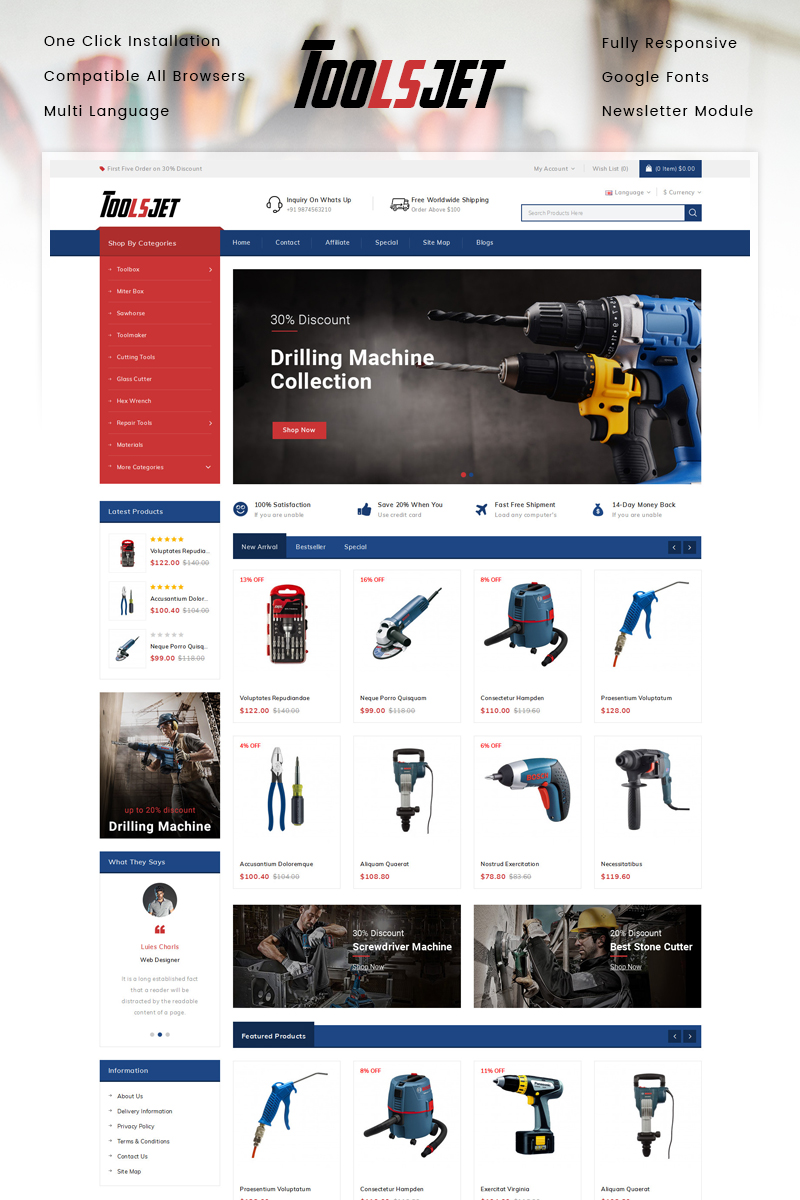 "OpenCart Vorlage namens ""Toolsjet - Hardware Store"" #87794"