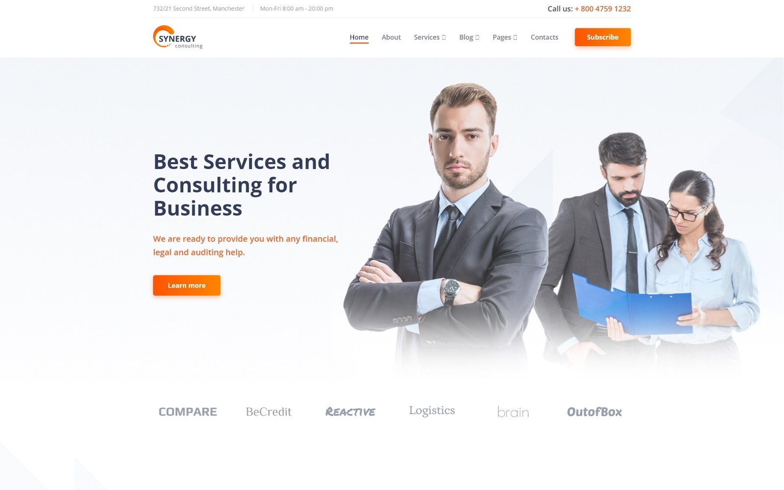 Responsivt Synergy - Consulting Agency Multipage HTML Hemsidemall #87737