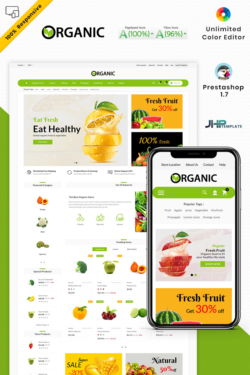 "Responzivní PrestaShop motiv ""The Organic Shop"" #87795"