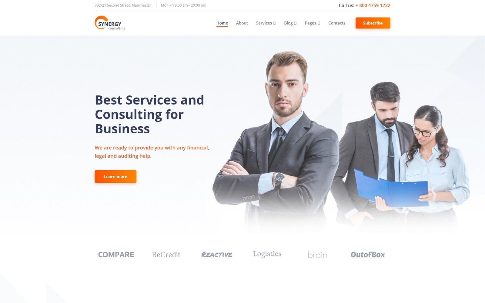 """Responzivní Šablona webových stránek """"Synergy - Consulting Agency Multipage HTML"""" #87737"""