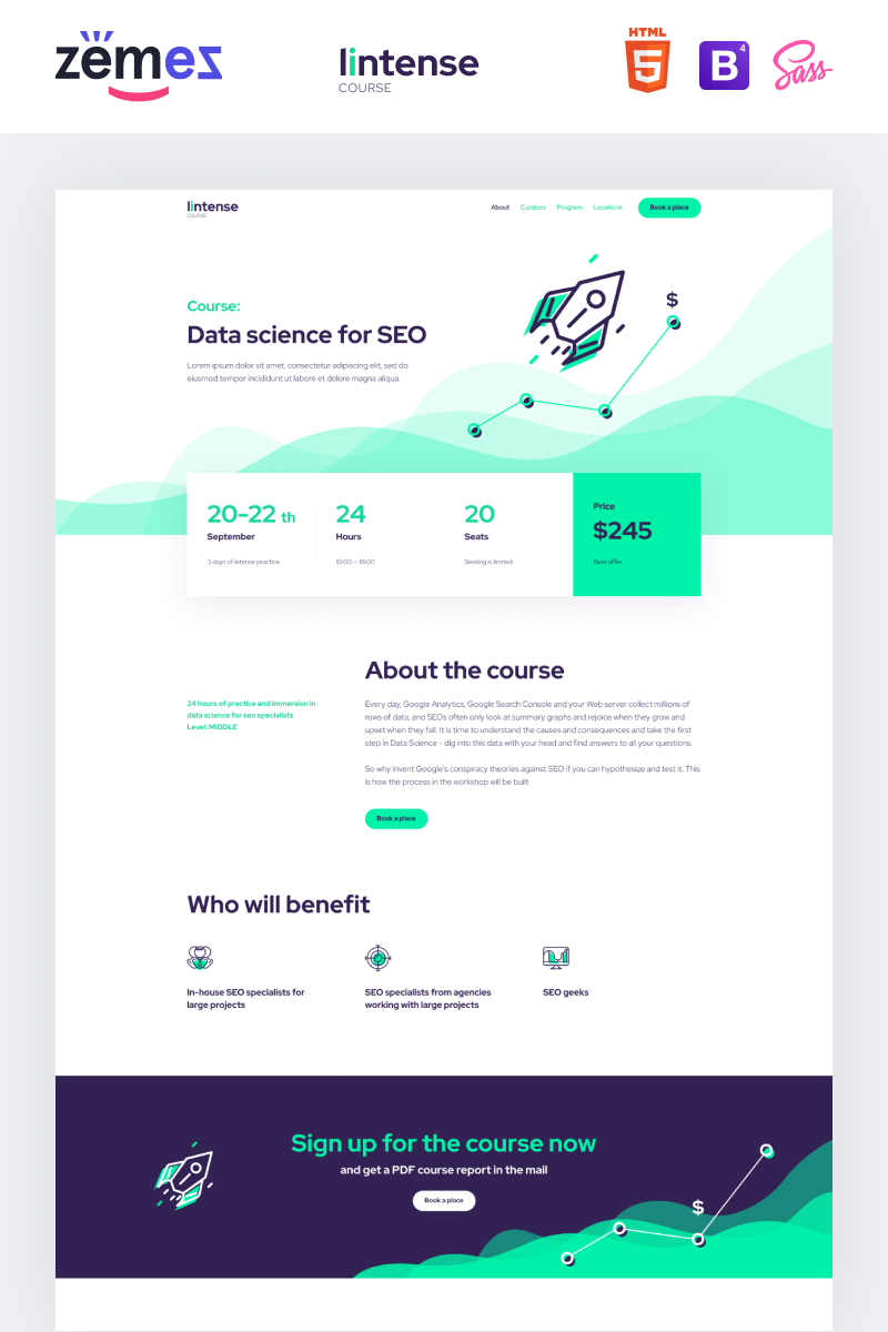 "Tema di Landing Page Responsive #87738 ""Lintense Course - Education Clean HTML"""