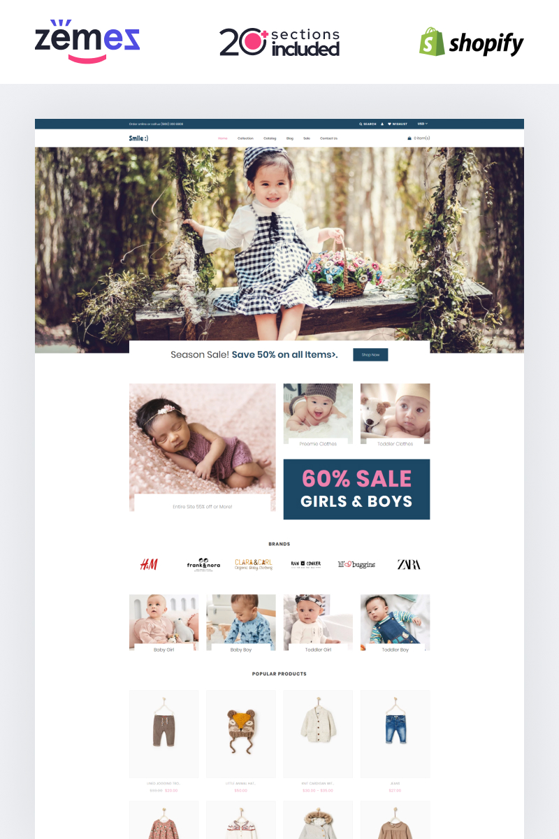 """Template Shopify #87739 """"Smile - Simple Baby Clothing Store"""""""