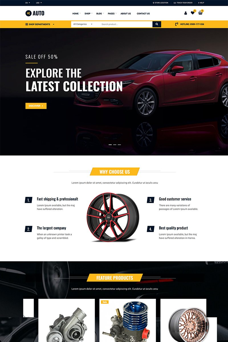 "WooCommerce Theme namens ""Auto Repair - Car Mechanic Services"" #87742"