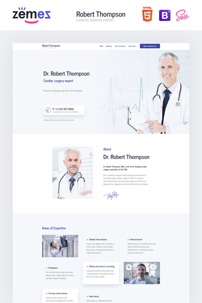 Lintense Doctor - Medical Clean HTML Templates de Landing Page №87878