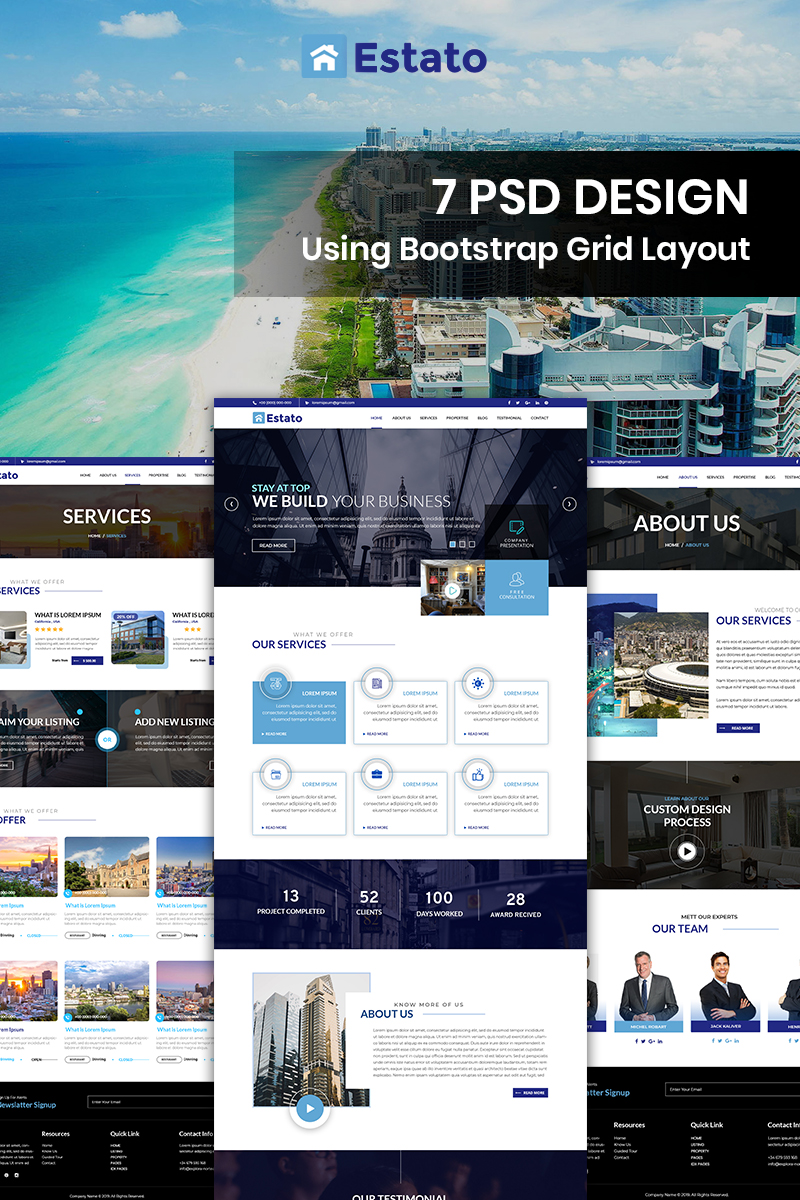 Bootstrap Estato - Real Estate Company Psd #87915