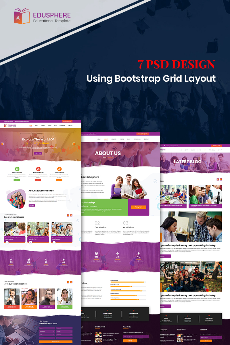 """Edusphere - Online Learning"" modèle PSD Bootstrap #87916"