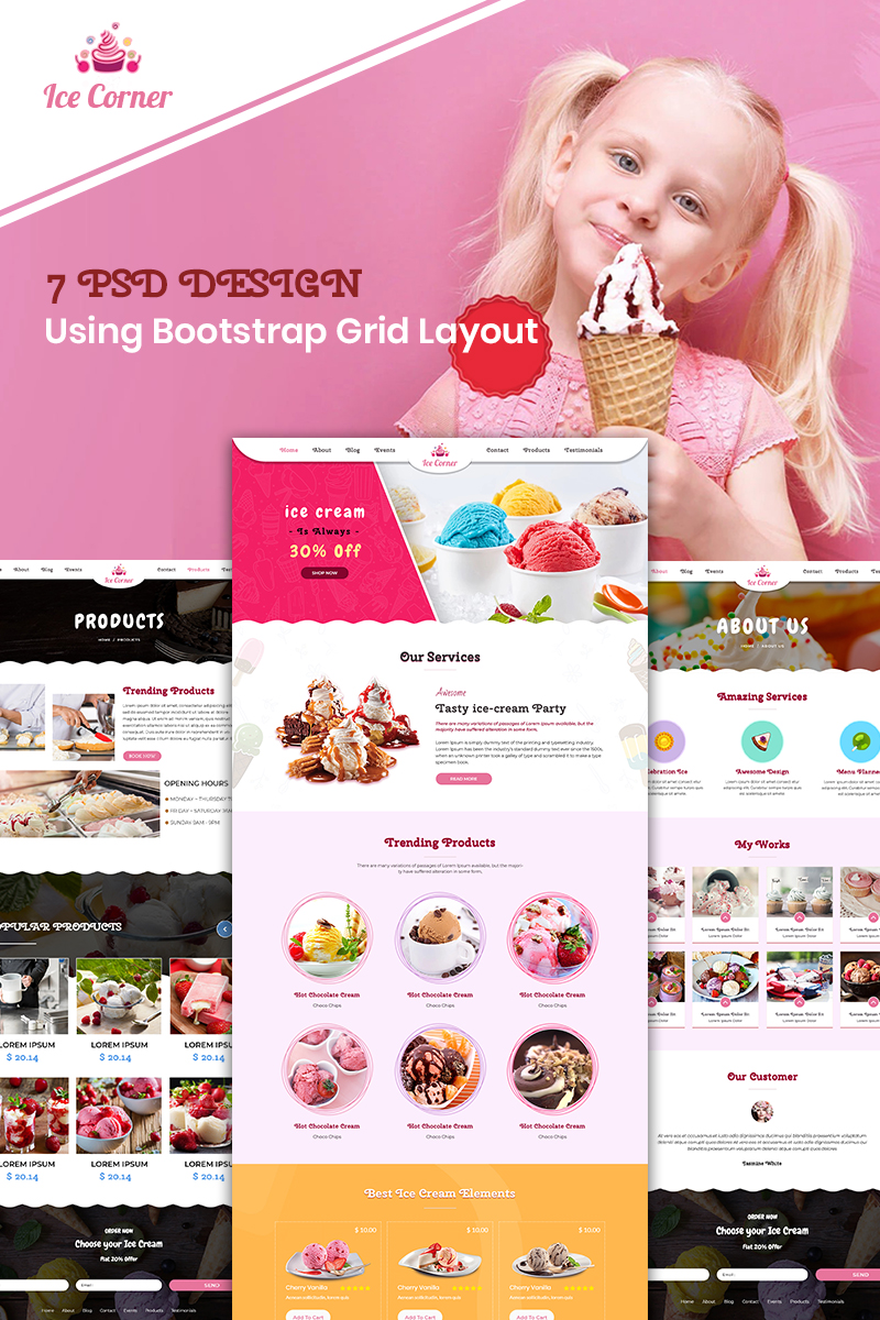 Ice Corner - Ice Cream Shop PSD Template