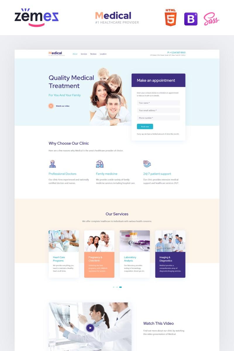 """""""Lintense Medical - Healthcare Clean HTML"""" - адаптивний Шаблон цільової сторінки №87924"""