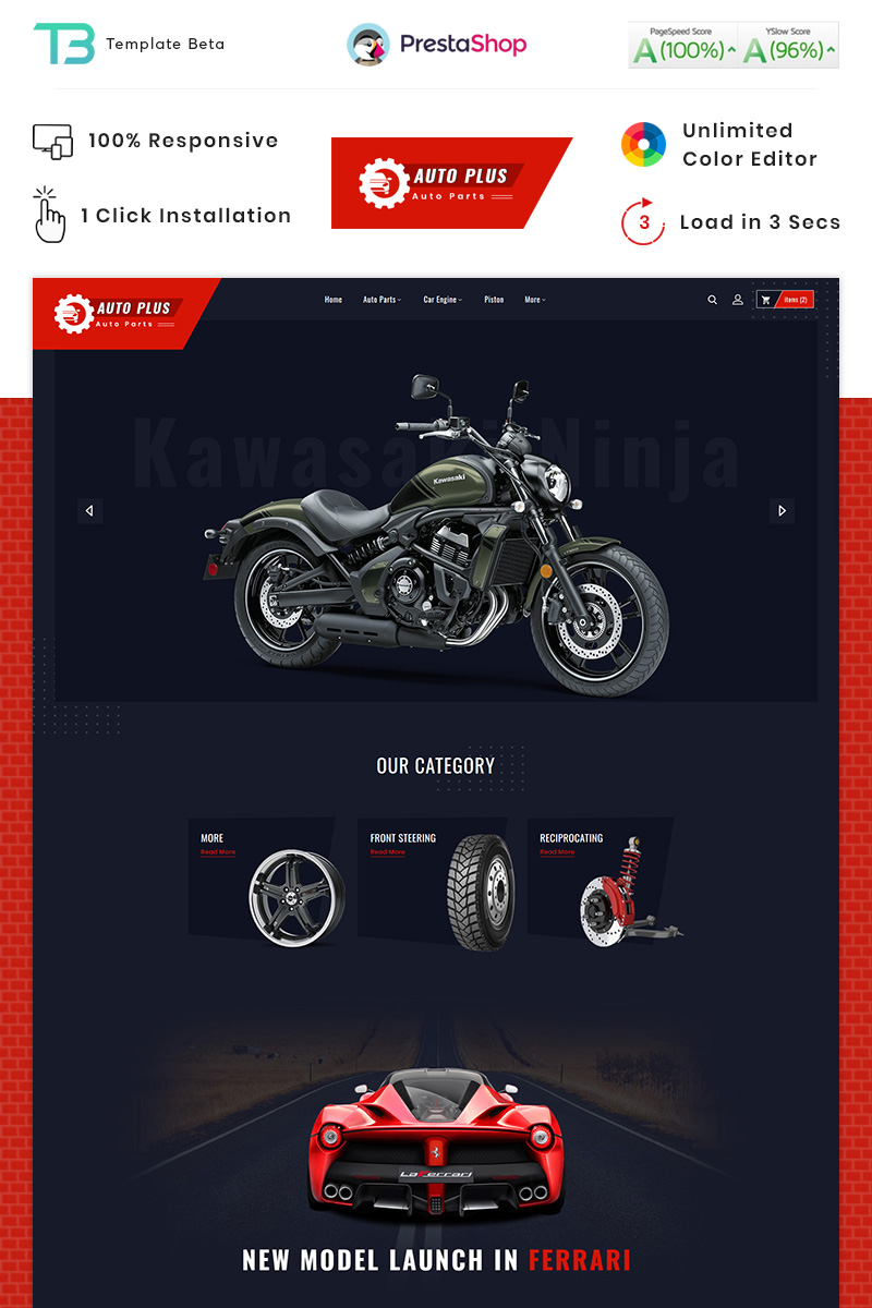 "Modello PrestaShop Responsive #87911 ""Auto Plus - Auto part Store"""