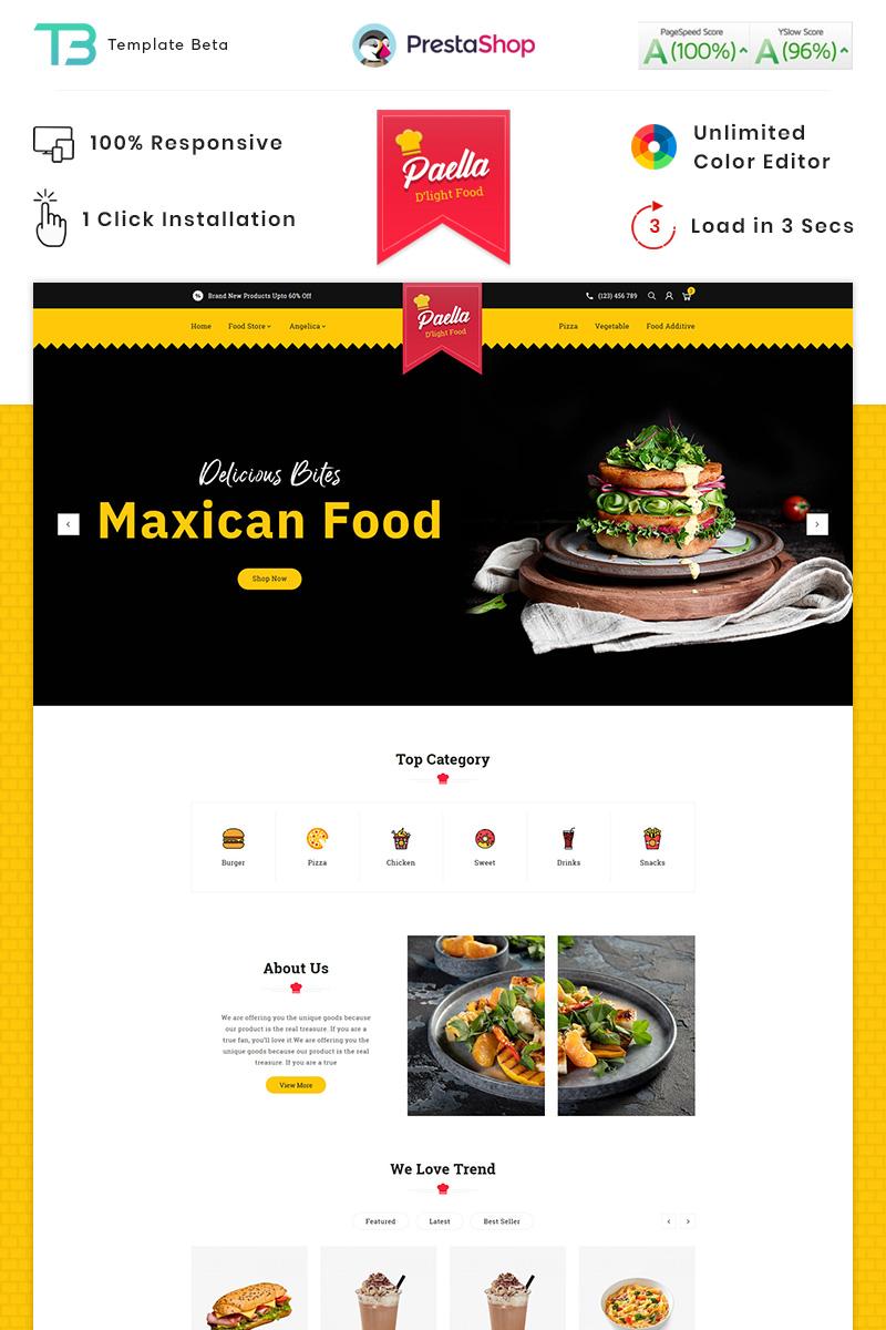 """Paella Delight Food And Restaurant"" - адаптивний PrestaShop шаблон №87910"