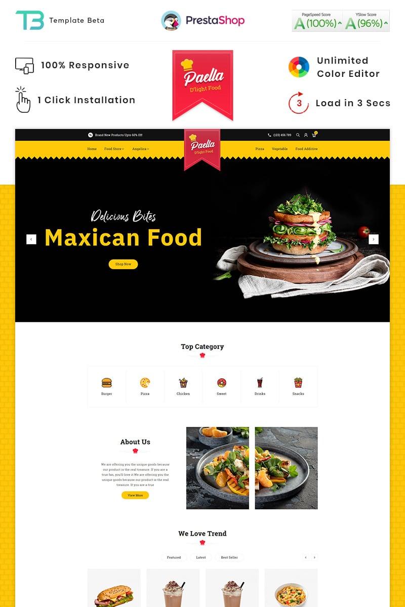 Responsivt Paella Delight Food And Restaurant PrestaShop-tema #87910