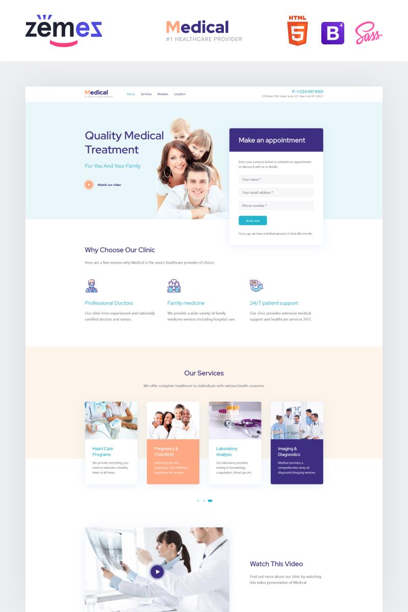 "Tema di Landing Page Responsive #87924 ""Lintense Medical - Healthcare Clean HTML"""