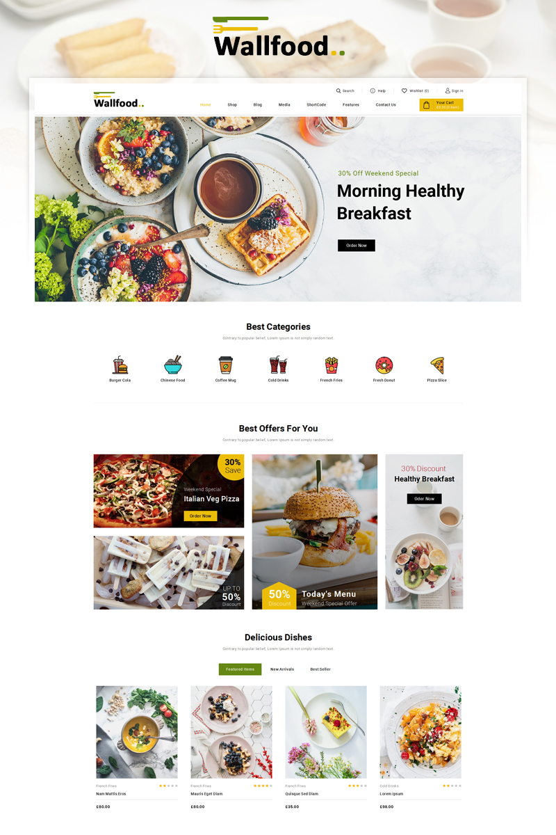 "Tema WooCommerce ""WallFood - Food & Restaurant Store"" #87900"
