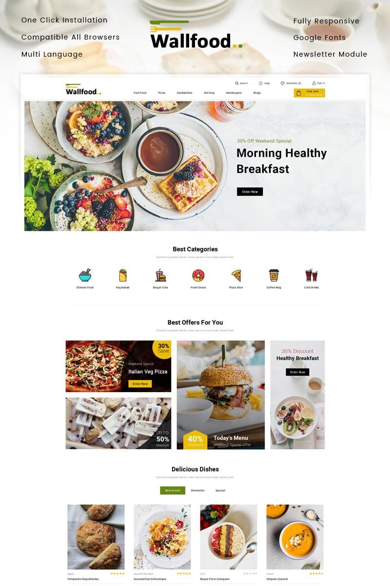 """WallFood - Restaurant Store"" - адаптивний OpenCart шаблон №87901"