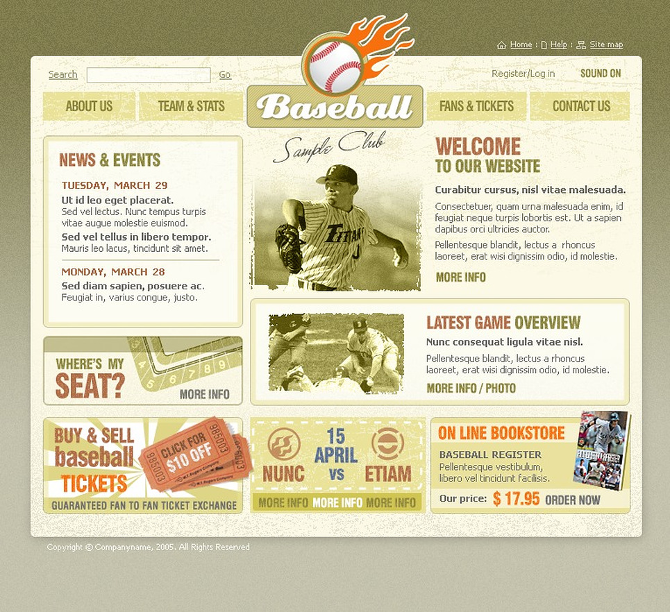 Baseball Website Templates by Daniel C. Adams