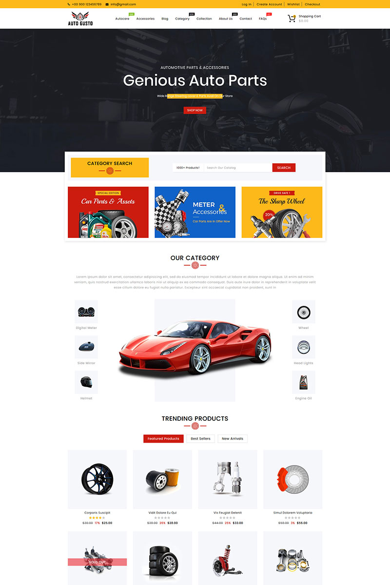 """Auto Gusto Automobile Parts"" 响应式Shopify模板 #88046"