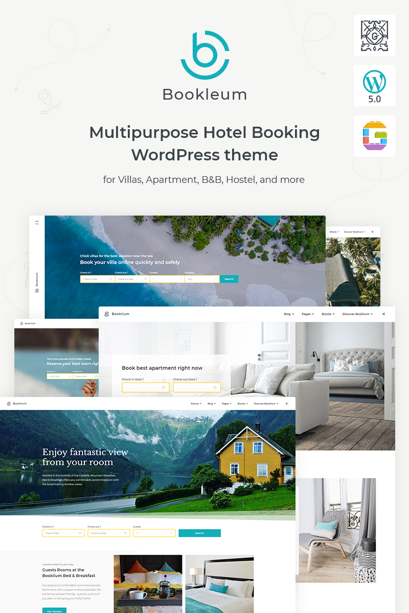 "Modello WordPress Responsive #88049 ""Bookleum - Rental"""