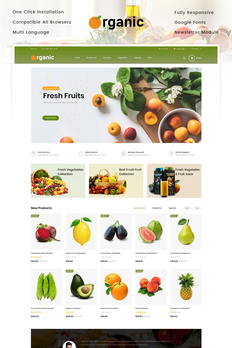 """Organic Fruits Store"" Responsive OpenCart Template №88047 - screenshot"