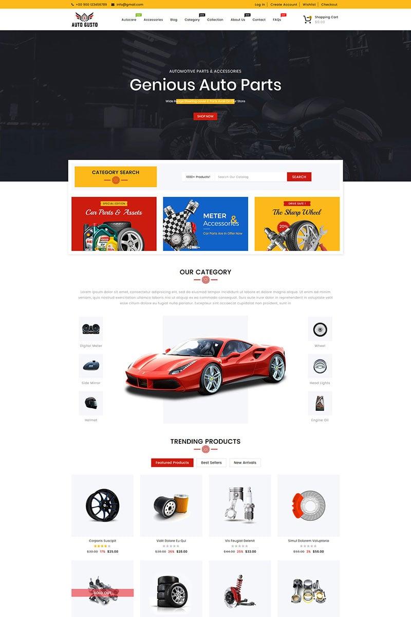 Reszponzív Auto Gusto Automobile Parts Shopify sablon 88046