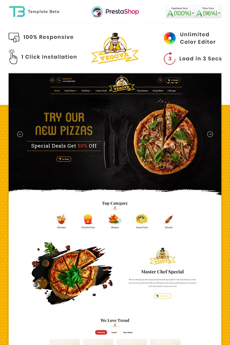 "Template PrestaShop Responsive #88048 ""Vegova Food and Restaurant"""