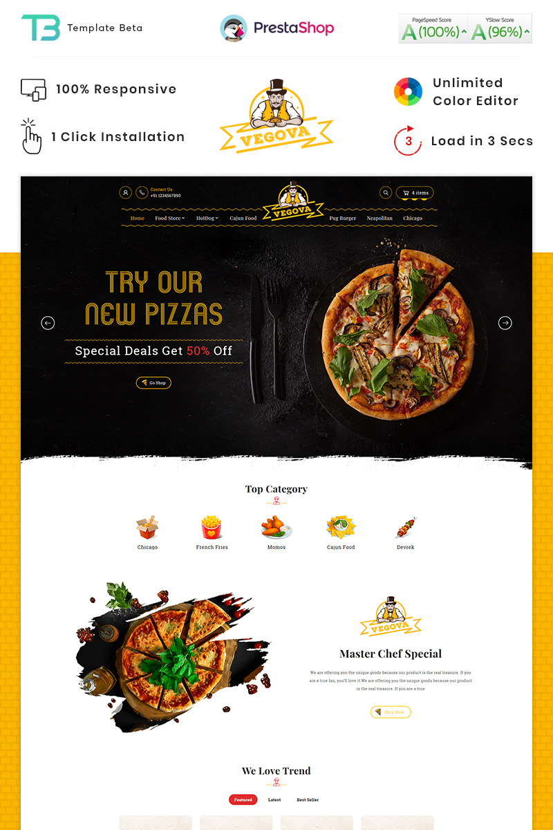 Vegova Food and Restaurant PrestaShop Theme