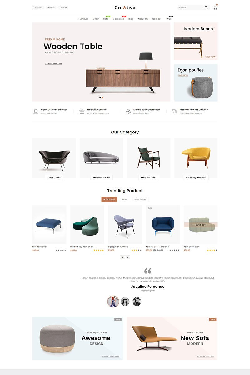 """Creative Wood And Furniture"" 响应式Shopify模板 #88199"
