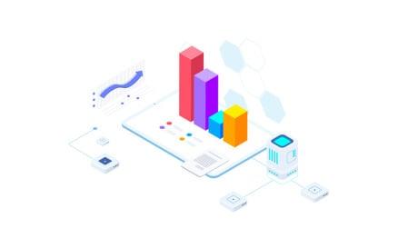 Financial Report on Blockchain Isometric 6 - FV Illustration