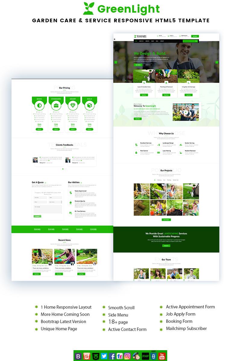 """GreenLight - Garden Care & Service"" 响应式着陆页模板 #88200"