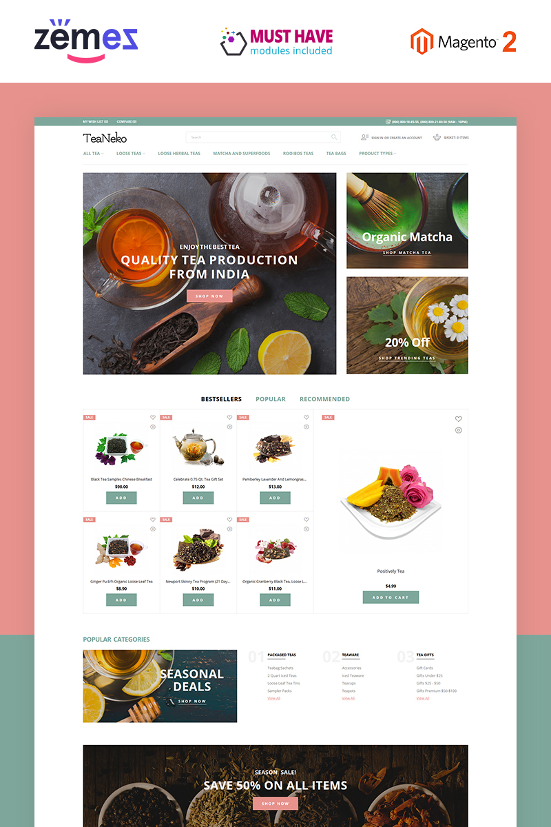"""TeaNeko - Tea Website"" - адаптивний Magento шаблон №88249"