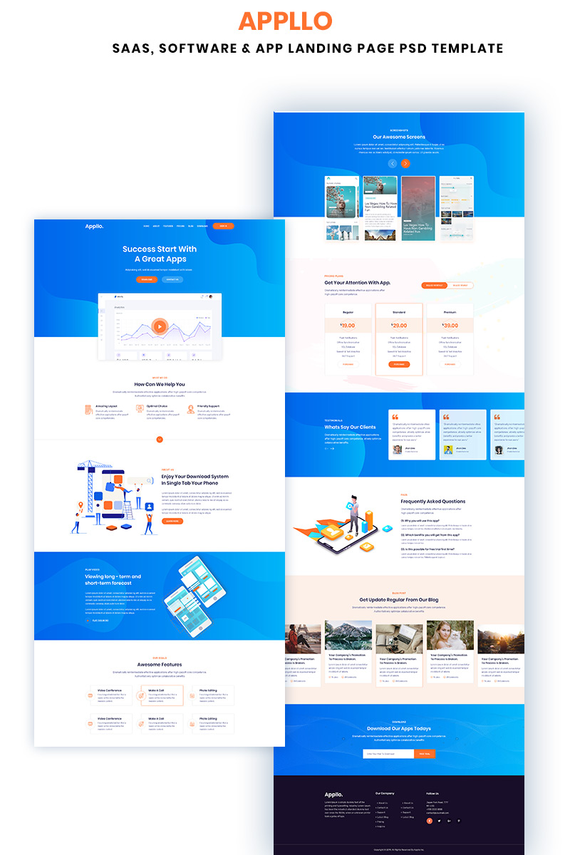 Appllo – Saas, Software & App Landing Page PSD Template