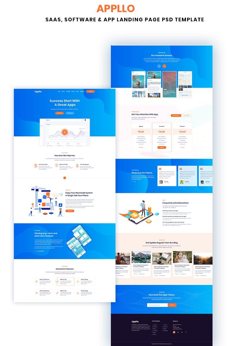 Appllo – Saas, Software & App Landing Page PSD Template - screenshot