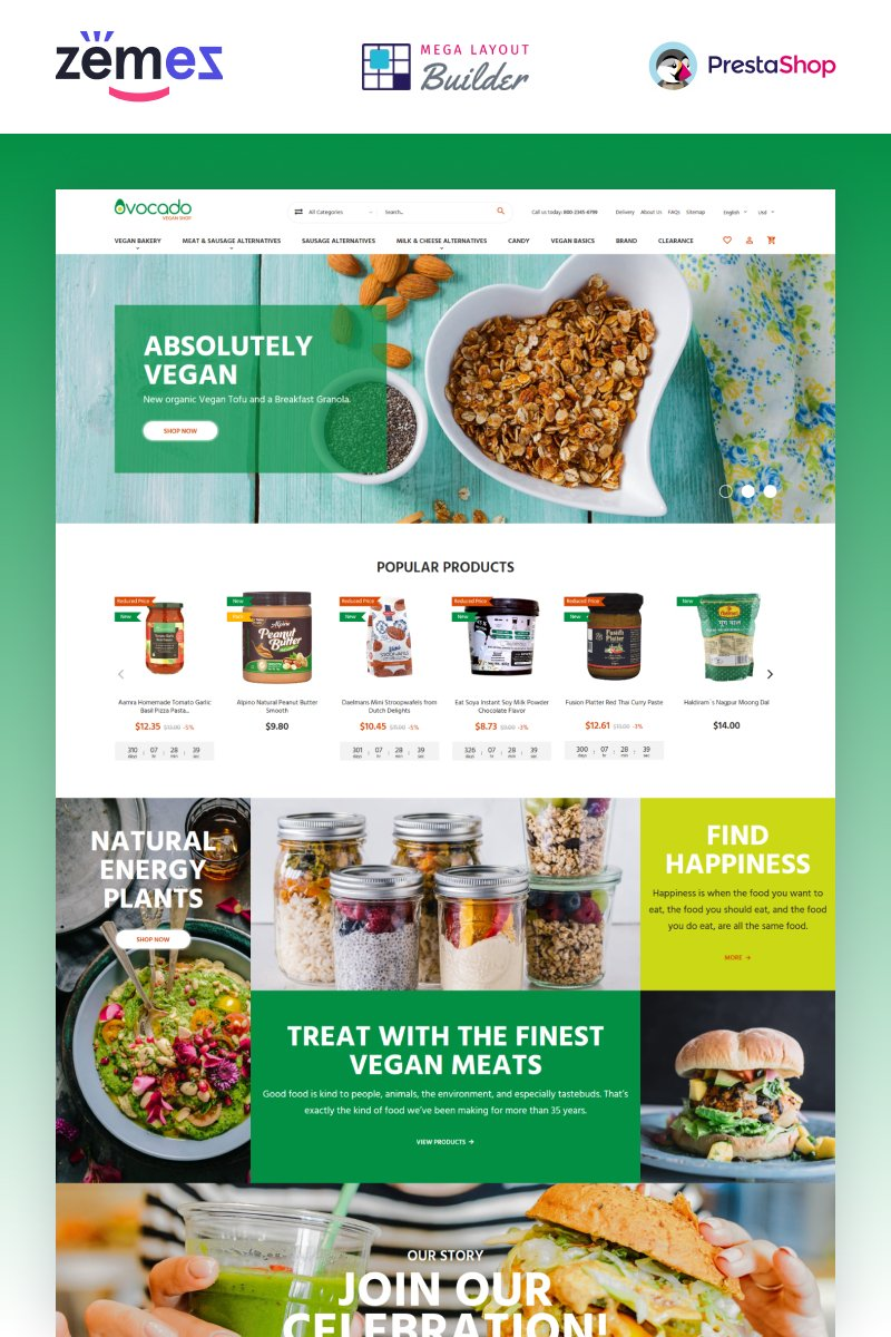 """""""Avocado - magasin végétarien"""" thème PrestaShop adaptatif #88380"""