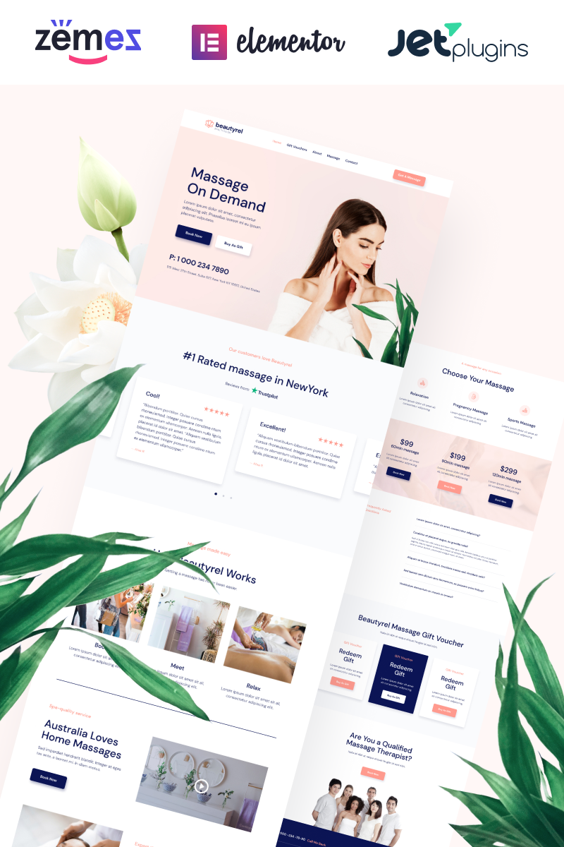 """""""Beautyrel - Relaxing Massage Therapy"""" Responsive WordPress thema №88383"""