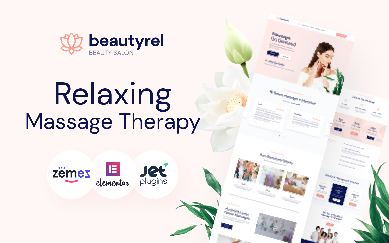 """Beautyrel - Relaxing Massage Therapy"" 响应式WordPress模板 #88383"