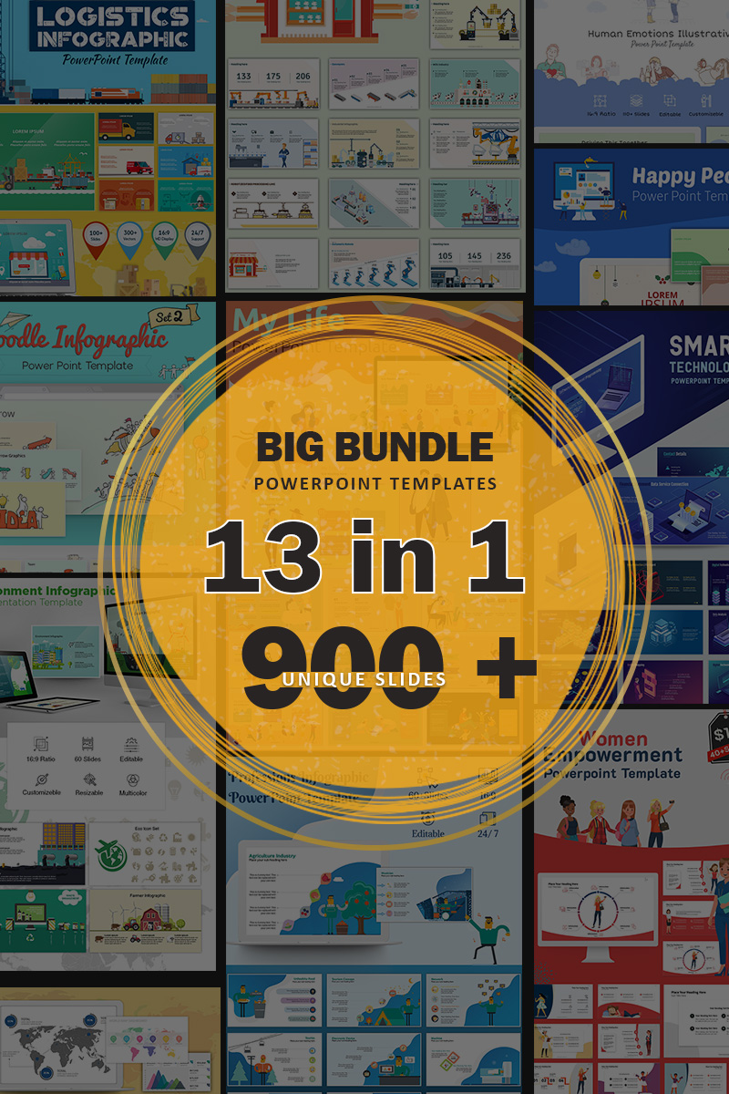 """Big Bundle"" 响应式PowerPoint 模板 #88335"