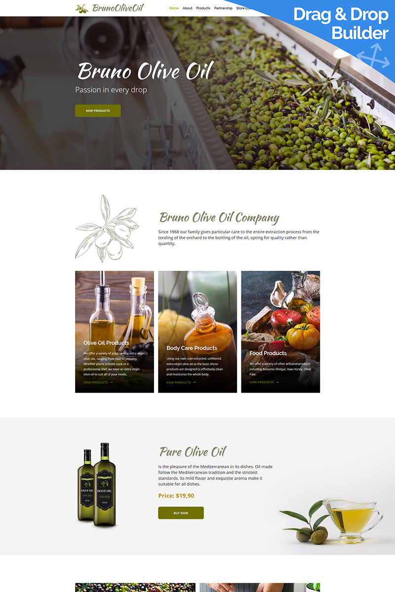 """Bruno Olive Oil Company"" Responsive Moto CMS 3 Template №88382 - screenshot"