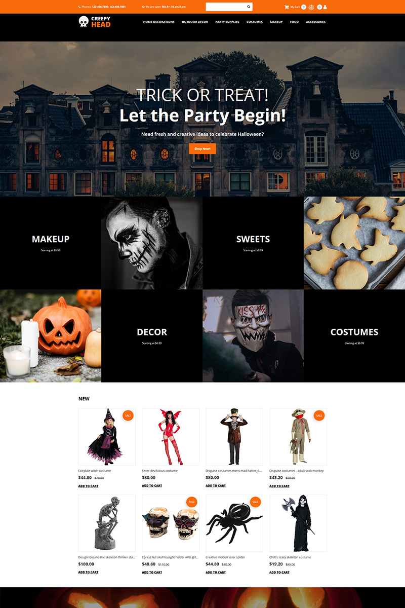 """Creepy Head - Halloween Store"" - MotoCMS інтернет-магазин №88349"
