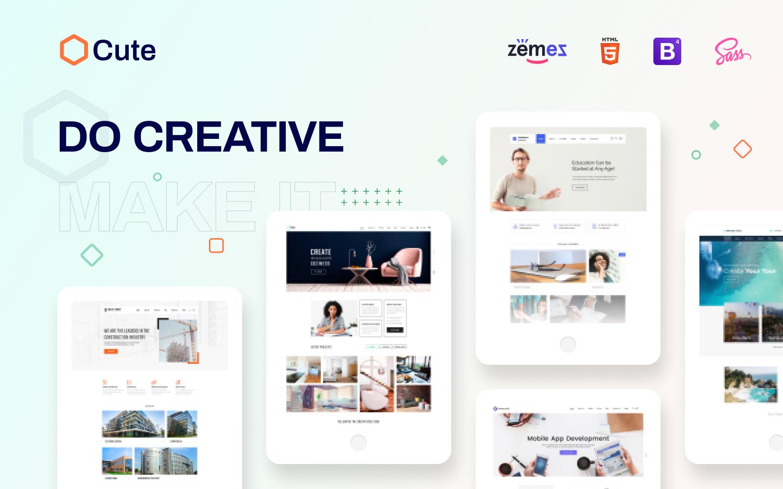 """Cute - Universal Multipurpose Creative HTML"" Responsive Website template №88381"