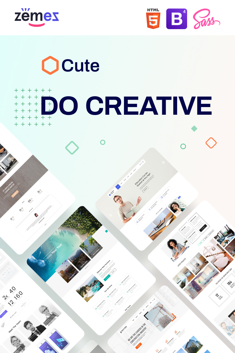 """Cute - Universal Multipurpose Creative HTML"" 响应式网页模板 #88381"